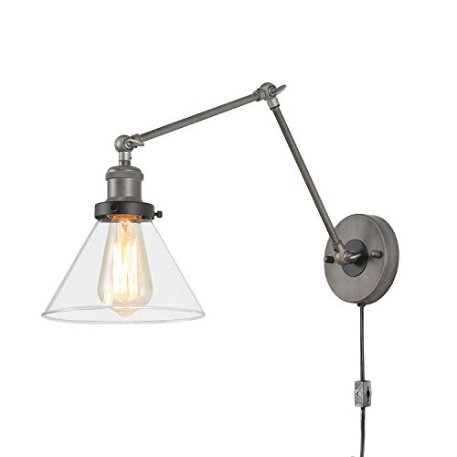 LNC Swing Arm Wall Sconce Lighting Glass Lamp with Plug in Cord for Bedroom, Reading