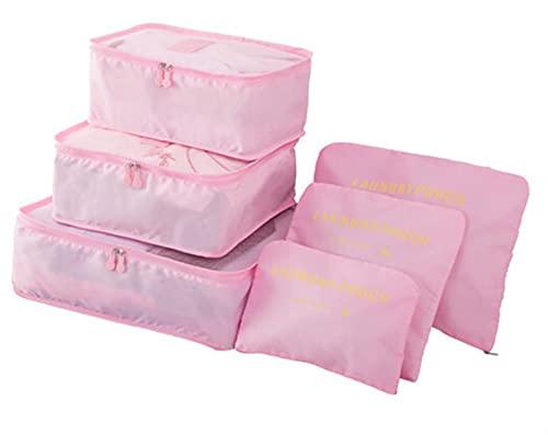 SHUJINGNCE 6 PCS Bolsa de Almacenamiento de Viajes Set para Ropa Organizador ordenado guardarropa Maleta Bolsa Viaje Organizador Bolsa Caja Zapatos Embalaje Cubo Bag (Color : Gray)