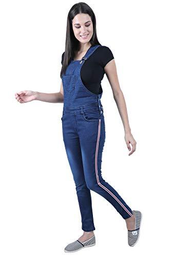 Broadstar Women's Skinny Fit Denim Dungaree (Blue, 30)