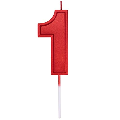 3.93in Big Size Happy Birthday Metallic Red 1 Candles, Red Color Happy Birthday Cake Cupcake Toppers Decoration and Celebrating for Adults/Kids Party or Family Baking (3.93in red Number 1)