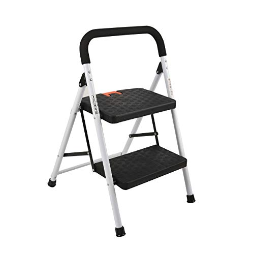 TiRiSMART 2 Step Ladder,Folding Step Stool with Wide Anti-Slip Pedal and Plastic Steps, 330lbs Capacity, Black