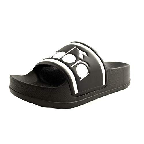 Diadora Damen-Sportschuhe, Modell Serifos Spectra, aus schwarzem und weißem Gummi mit Logo, rutschfeste Unterseite mit Sitzerhöhung., Schwarz - Schwarz - Größe: 38 EU