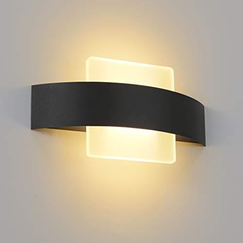 ZMH LED Wandleuchte Warmweiß Innen Wandlampe Wohnzimmer 6W aus Acryl Modern Bettlampe Nachtlampe 23.5cm in Schwarz und Weiß für Schlafzimmer Wohnzimmer Arbeitszimmer Treppenhaus