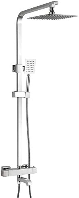 Duschsystem Edelstahl mit Regendusche ABS Duschsule Duscharmatur Brauseset mit Duschkopf und Handbrause inkl. Verstellbar Duschstange (85-110cm), 38°C Thermostat