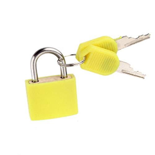 Cerraduras de latón recubierto de 4 colores para bolsa de equipaje de viaje Mochila Cremallera Maleta Candados con llaves Herramienta de hardware-amarillo