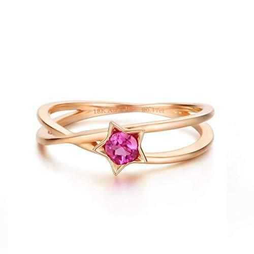 Rubyia Gold Ring Women 18 karat Rainbow Sapphire Round with Pentagram Size M½