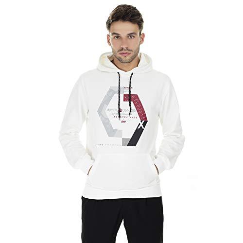 BURATTI - Sudadera con capucha para hombre, con bolsillo tipo canguro Blanco-1 M