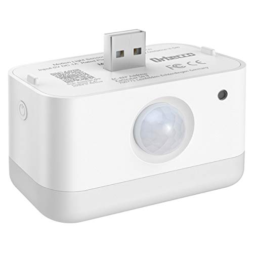 Orbecco Luz de Nocturna Inteligente Smart PIR, USB Recargable Lámpara con Sensor de Movimiento Automático e Inalámbrica Iluminación de Pared, Compañero Perfecto para Echo Flex - Blanco