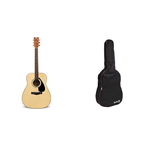 Yamaha F310 Guitarra Acústica – Guitarra Folk 4/4 de madera, 63.4 cm, escala 25 pulgadas, 6 cuerdas metálicas + RockJam Bolsa acolchada para guitarra acústica con asa de transporte y correa