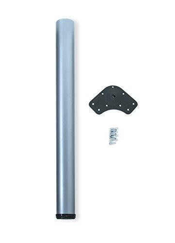 Emuca 2037525 - Pie de mesa regulable Ø 80 x 710 mm de acero pintado aluminio metalizado