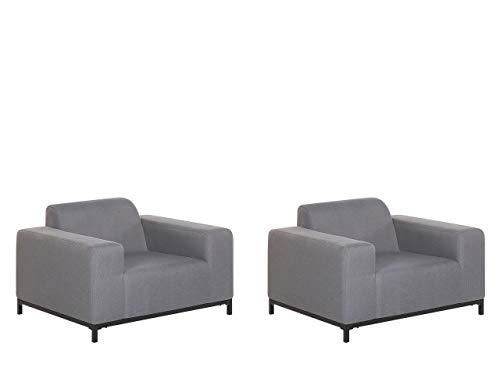 Beliani Conjunto de 2 sillones de jardín Gris/Negro Rovigo