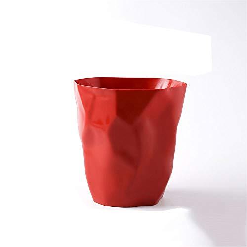 WPCBAA Nordic Simple Poubelle en Plastique Peut ménage Stockage Baril Salon Chambre plissé Papier Panier Salle de Bains Cuisine Poubelle Peut (Couleur : Rouge)