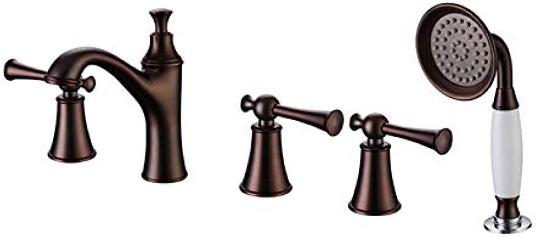 Antique schwarz European Split Five Armaturen Kalt- und Vollkupfer-Badewannenarmatur