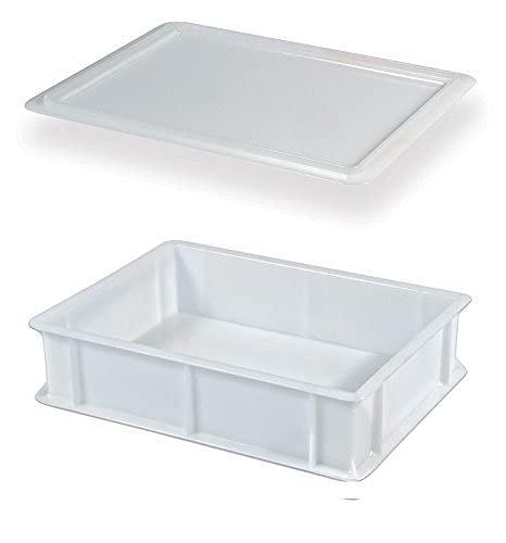 Genus Dei | Bandeja Plastico Rectangular Para Pizza Pan | Portapastas Profesional |Uso Alimentario | Caja Para Masas Con Tapa Modelo Service 30x40x10
