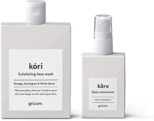 Grüum Skincare Duo, 1 Pack Contains Kóri Exfoliating Face Wash (1x 120 ml) and Kåre Hydrating Daily Moisturiser (1 x 50 ml)