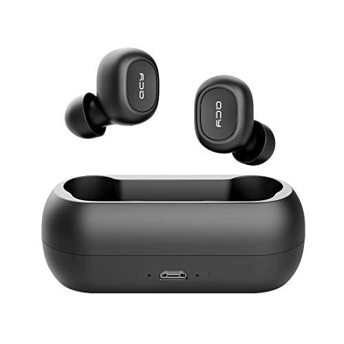 QCY-T1 TWS Bluetooth 5.0 Sport-Kopfhörer In-Ear, kabellos,Mehr als 20 Std. Batterielaufzeit mit Ladecase, IPX4 wasserfest und integriertes Duo HD Mikrofon (schwarz)