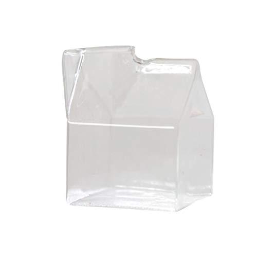 UPKOCH Jarra de cristal para leche con forma de mini caja de...