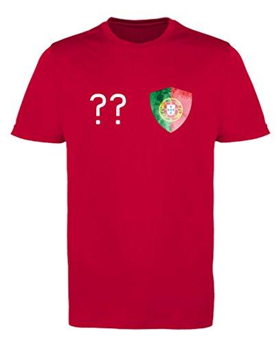 Comedy Shirts - Portugal Trikot - Wappen: Klein - Wunsch - Damen Trikot - Rot/Weiss Gr. S