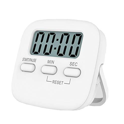 INRIGOROUS Digitaler Küchen-Timer, magnetisch, Countdown-Stoppuhr mit lautem Alarm, große Ziffer, Ständer für die Rückseite, hängende Loch zum Kochen, Dusche, Badezimmer, Kinder, Lehrer weiß