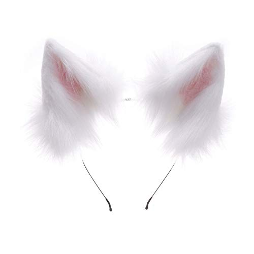 HAOAN Handmade Faux Fur Fox Wolf Ears Headband Halloween Christmas Cosplay Party Costume Accessories White