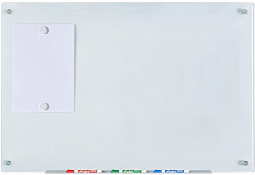 Audio-Visual Direct Magnetic White Glass Dry-Erase Board Set - 23 5/8' x 35 1/2 Inches -