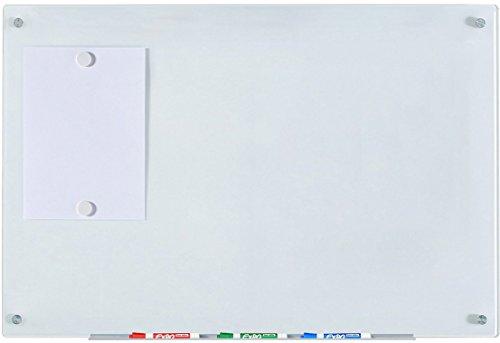 """Weiß Glas-Magnettafel leicht abwischbar - 60 cm x 90 cm - 23 5/8\"""" x 35 1/2\"""" - inklusive Brett, Magneten, Halter für Board-Marker"""