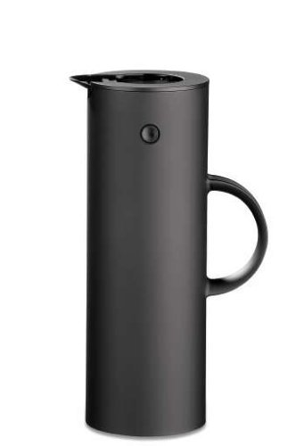 Stelton EM 77 Isolierkanne, Kaffeekanne aus Kunststoff, soft black, schwarz, 1 Liter