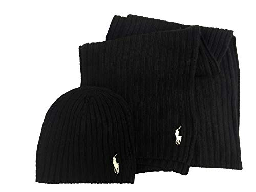 Polo Ralph Lauren Men's 2 Piece Set Hat & Scarf Black Lambswool Blend