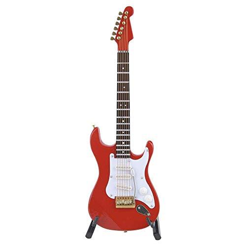 Mini Guitarra Clásica Modelo de Instrumento Musical de Madera Adornos para Guitarra Eléctrica Artesanías de Madera De Tajo Rojo Negro Blanco Café Blanco 18cm(roter)