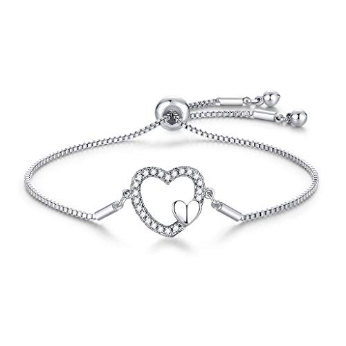 CERSLIMO Silver Bracelet for Women, White Gold Plated Cubic Zirconia Paved Heart Bracelets | Silver Jewellery Birthday Gift for Girls Teens Ladies Mom Sister Best Friends Adjustable Bracelets