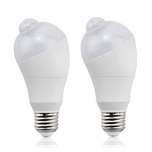 Bonlux 5W E27 Ampoule LED PIR infrarouge détecteur de mouvement E27 à vis Edison Veilleuse allumer/éteindre automatiquement pour cour, escalier, jardin, garage, entrepôt, etc(2pcs, Blanc Chaud 2800K)