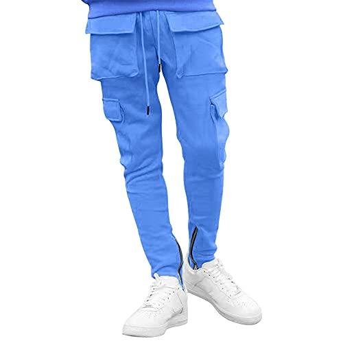 N\P Primavera y otoño de los hombres pantalones casuales sueltos mediados de la cintura de color sólido