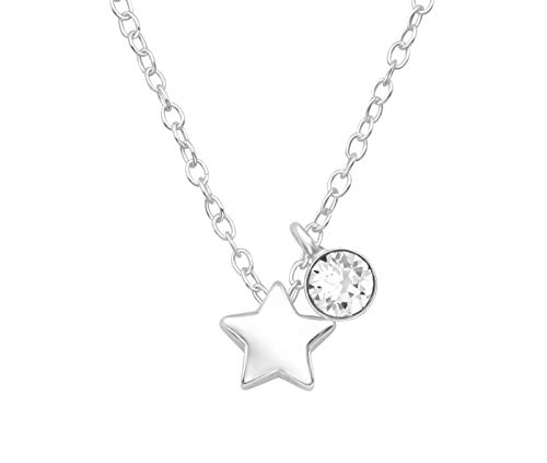 925 Sterling Silver Star & Clear Swarovski Crystal Necklace from Lotus Flower Trading Co. jewellery pendant circle crystals unisex chain jewellery women boho star women funky emo pretty set