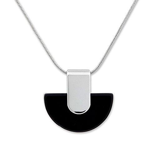 Collar de cadena con colgante piedras preciosas negro diseño Agathe