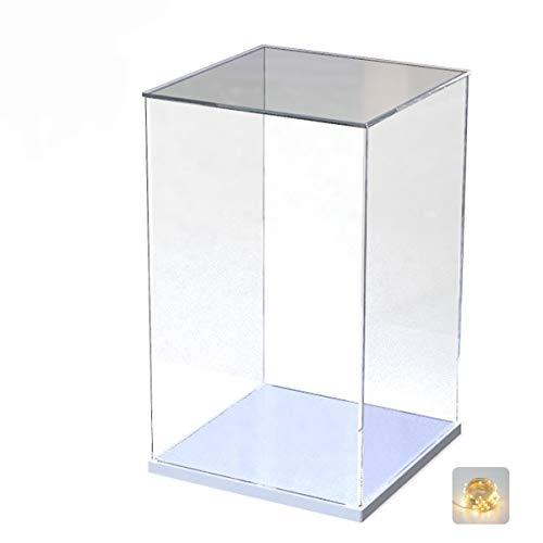 Elepure -  Caja de cristal acrílico transparente para colección Lego # Figura mejorada,  expositor,  caja de exhibición antipolvo con base para juguetes Mini figuras (blanco,  25 x 25 x 40 cm)