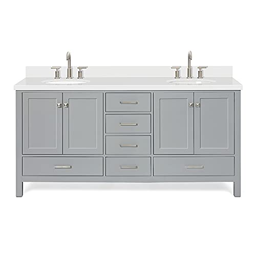 """ARIEL 73"""" Inch Grey Double Vanity with Pure White Quartz Countertop 