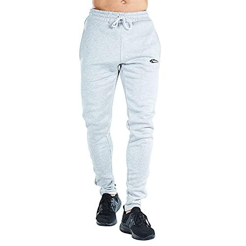 SMILODOX Herren Jogginghose Ultra Flex  Trainingshose für Sport Fitness Gym Training & Freizeit   Sporthose - Jogger Pants - Sweatpants Hosen - Freizeithose Lang, Farbe:Grau/Schwarz, Größe:XL