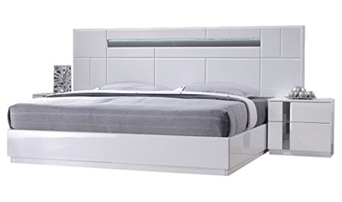 J&M Furniture Palermo Contemporary King Bedroom Set in White, 5-Piece