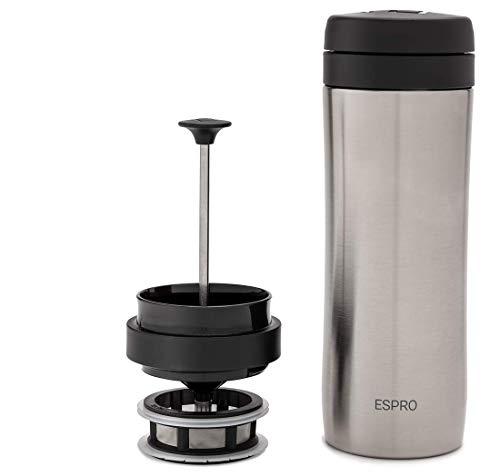 ESPRO Reise-French Press Travel Press, Mini Tea Maker mit Thermo-Funktion, Edelstahl, Tee to go, 350ml, edelstahl