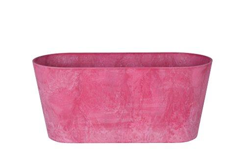 Artstone Pflanzgefäß Balkonkasten Claire, frostbeständig und leichtgewichtig, Pink, 38x16x17cm