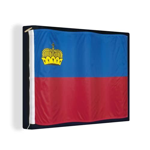 Leinwandbild - Nahaufnahme der Flagge von Liechtenstein auf einem schwarzen Hintergr& - 80x60 cm