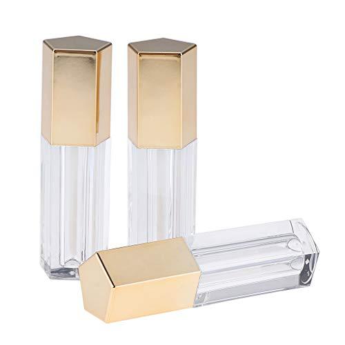Homyl 3 Piezas 5ml Botella de Maquillaje Recipientes de Lápiz Labial Envase de Brillo de Labios Organizador - Oro