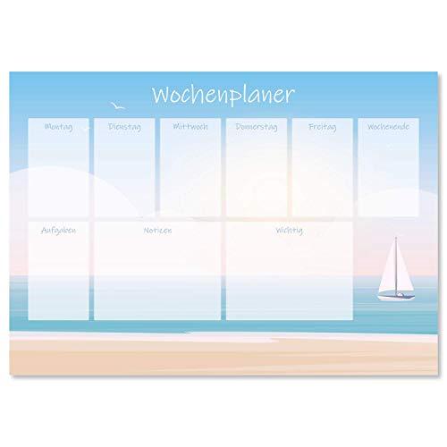 Vade de escritorio 'Meerblick' de papel, DIN A3, 24 hojas, para niños y adultos, ideal como bloc de notas, organizador, planificador semanal y planificador diario
