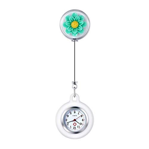 Lancardo Reloj Enfermera de Flor Reloj Médico de Bolsillo de Silicona Movimiento de Cuarzo para Doctor Pétalo de Cristal de Resina Prendedor de Broche Estirable Paramédico Hospital Clip Verde
