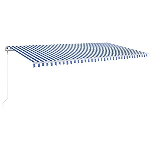vidaXL Toldo Automático LED Sensor de Viento Plegable Manivela Ventana Sombrilla Jardín Terraza Balcón Ajustable Impermeable Azul y Blanco 600x300 cm