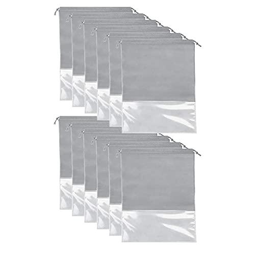 WINFCOY 12 bolsas de viaje para zapatos, grandes a prueba de polvo, impermeables, con cordón, bolsa portátil de tela no tejida con ventana transparente, organizador de equipaje (gris)