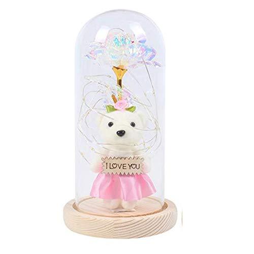Rose Bear Flower Crystal Kronleuchter Mit Led Goldfolie, Weihnachtslampe FüR Hauptgeschenk Zum Muttertag, Weihnachtsgeburtstagsgeschenk