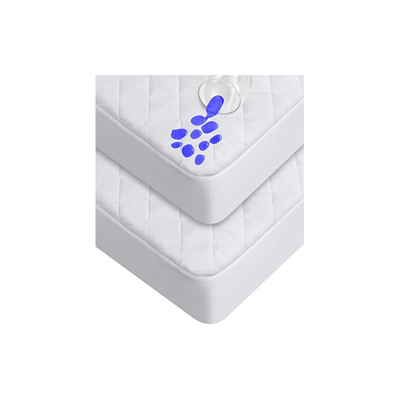 crib bedding and baby bedding utopia bedding waterproof crib fitted mattress protector, toddler and baby crib mattress pad cover, soft and breathable (pack of 2)