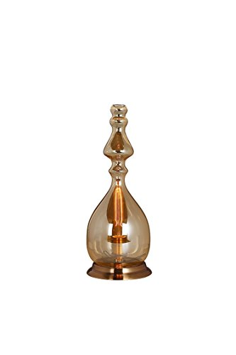 Meubletmoi Lampe à Poser en Verre fumé Transparent Fine – Design Vintage Industriel – Petrol 02