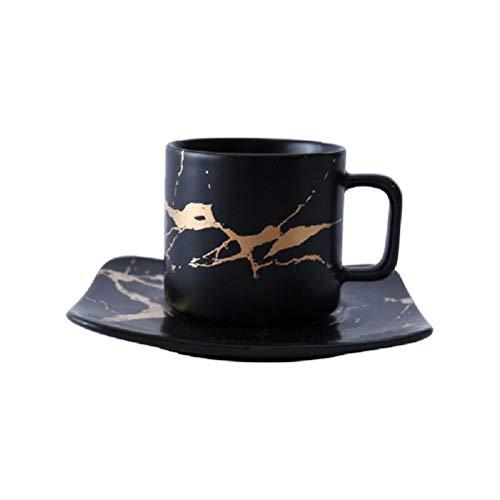 Taza de café de mármol, taza blanca y negra y taza con platillo. Taza de café de alta calidad, juego de café, taza con platillo de café tazas de café